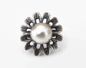 Sterling Silver Simulated Pearl Ring - Sterling Ring, Flower Ring, Statement Ring, Vintage Ring, Size 6.75