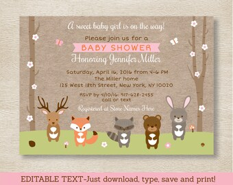 Pink Woodland Animals Baby Shower Invitation / Woodland Baby Shower / Girl Forest Animals / Editable PDF INSTANT DOWNLOAD A209