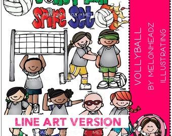 Volleyball clip art - LINE ART