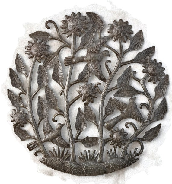 Birds & Flowers, Steel Drum Sculpture, Handmade In Haiti From Recycled Oil Drums, One-of-a-Kind, 21.5x21