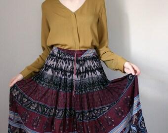 Vintage Indian Block Printed Cotton Gauze Midi Skirt - Extra Small/Small