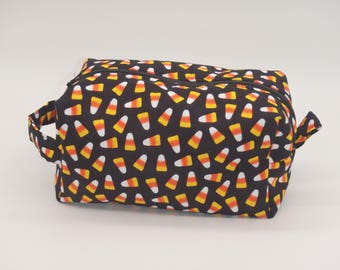 Candy Corn Bag, Halloween Makeup Bag, Costume Makeup Pouch, Dopp Kit, Zip Pouch, Ditty Bag, Toiletry Kit, Halloween Gifts, Cosmetics Bag