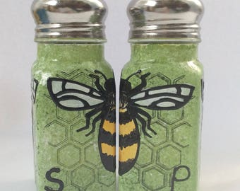 Green Bee hand painted glass salt and pepper shakers