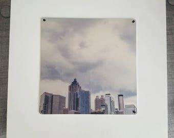 Silver Atlanta -Atlanta, Georgia Skyline - Metal Print Photo Mounted on Wood Frame
