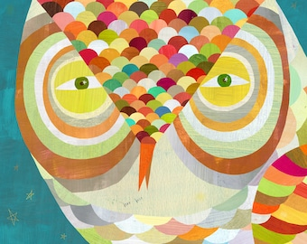 All Seeing Owl, Canvas Art Print, Animal Illustration for Kids and Adults