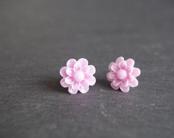 Pink Flower Stud Earrings Light Pink Stud Earrings  Flower Earrings Pink Post Earrings Cabochon Earrings Children Earrings gift for her