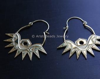 Tribal Brass Hoop Earrings , Hoop Earrings Brass Earrings,  Gold Earrings,hippie ,bohemian ,Wedding, hippie , Ethnic