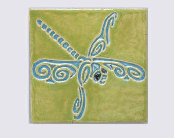 Dragonfly MUD Pi Decorative Handmade 4x4 Ceramic Tile