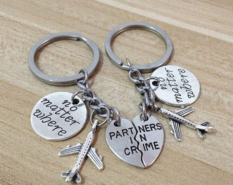 partners in crime keychain,no matter the distance, no matter what no matter where,going away gift for friend,long distance friendship