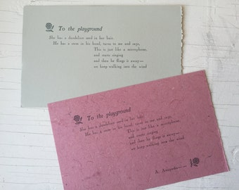 Letterpress broadsides-- poem printed at Center for Book Arts NYC