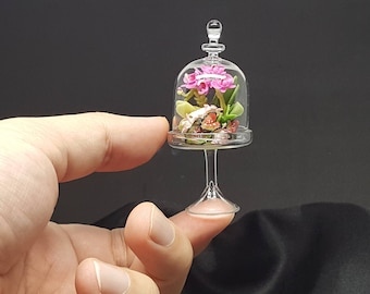 Bouquet orchid flower miniature made from clay in dome glass for Dollhouse Miniature, Art Collectibles