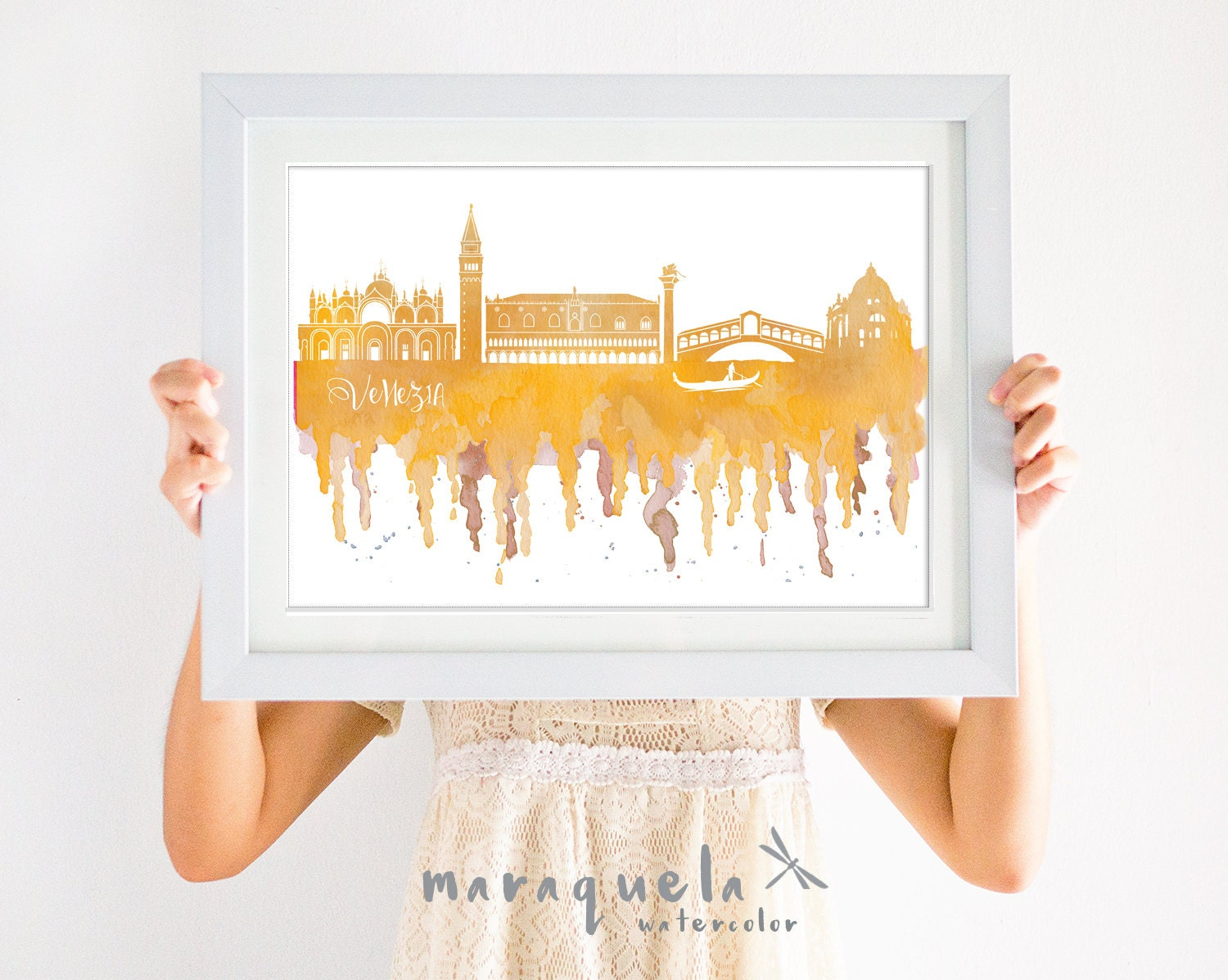 VENICE ITALY Skyline watercolor yellow or pink, Italia decor, print ...