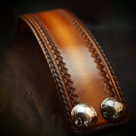 """Leather cuff Bracelet 2"""" Brown sunburst Vintage style laced, hand tooled, Buffalo nickels - Quality Made for YOU in USA by Freddie Matara"""