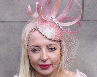 Rose Gold Silver Pink Birdcage Veil Fascinator Hat Hair Clip Pillbox Races 4683