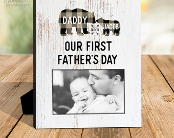 Father's Day gift   dad baby first fathers Day   plaid bear fathers day photo frame   fathers day frame gift  MDF1-109