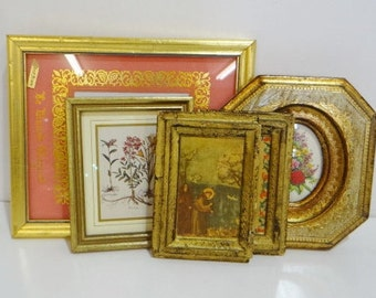 Lot of Vintage Florentine Wood Frames Pictures 5 Pieces Gold Gilt Art Photo Frames Wall Hangings Italian Decor
