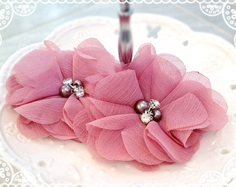 """NEW:3"""" inch TWO Aubrey MAGENTA / Vintage Pink -Soft Chiffon with pearls and rhinestones Mesh Layered Small Fabric Flowers,Hair accessories"""
