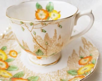 ROYAL ALBERT 1930s Crown China Vintage Tea Cup and Saucer, Meadow scene, pretty flowers/ Green, orange and yellow teacup