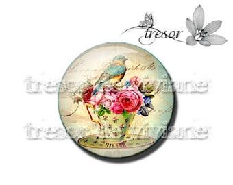 PA429 cabochons manual glasses Retro flower, bird, girl, Alice, cake
