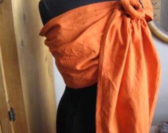 Orange Linen Blend Ring Sling, Baby Carrier, Gathered shoulder, SALE