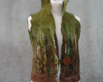 Hand felted ~ Woodland waistcoat ~ Pixie clothing ~ Tribal vest ~ Boho coat ~ Felt clothing ~ Olive green and chocolate brown ~ Elfnfelt
