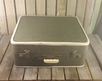 Vintage Striped Suitcase, Striped Tweed Suitcase, Vintage Suitcases, Old Luggage, Vintage Striped Luggage, Old Tweed Suitcase,  Suit Cases,