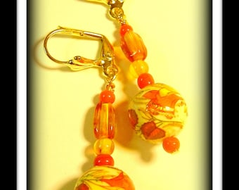 Orange blossoms-lever back dangle earrings