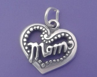 MOM HEART Charm .925 Sterling Silver Pendant - d35556