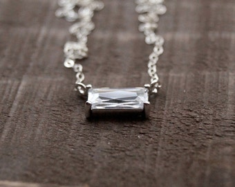 Simple CZ Necklace, Sterling Silver Necklace, Emerald Cut Necklace, Dainty Necklace, Bridesmaid Gift, Everyday Necklace, Gift for Mom