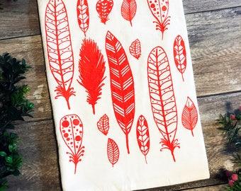 Feathers Cotton Kitchen Towel - Rust Orange