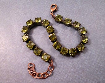 Rhinestone Bracelet, Olive Green Glass Rhinestone and Copper Beaded Bracelet, FREE Shipping U.S.