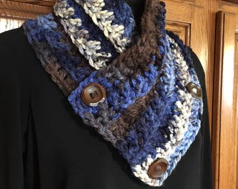 "32"" x 6"" - Lakeside - 3 Button Neck warmer scarf - Blue, Cream & Brown"