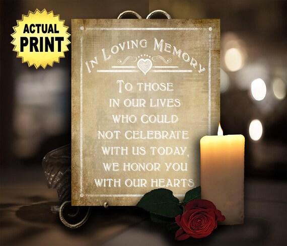 Printed Memorial wedding sign, In Loving Memory Wedding Signage ,  Vintage wedding print, Rustic wedding sign, Wedding memorial sign