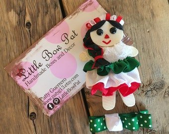 Indita... Traditional Mexican Doll Ribbon Sculpture Hair Bow Set