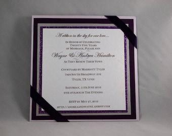 5x5 Flat Square Glitter Layered Wedding Invitation