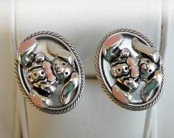 formel bunny silver cufflinks enamel