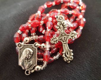 Handmade Rosary with small glass beads