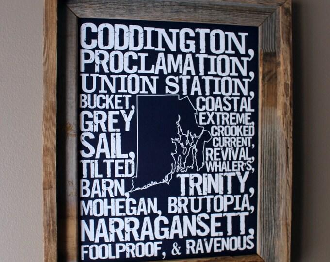 Beers of Rhode Island Word Map (Dark Blue) - Unframed