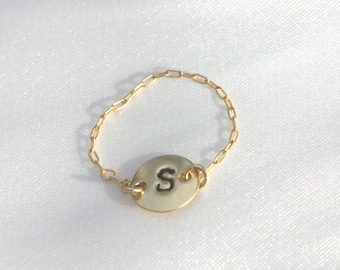 Stackable Initial Ring - Gold Initial Ring - Letter Ring - Alphabet Ring, Initial Stacking Ring, Personalized Ring, Pick Your Initial