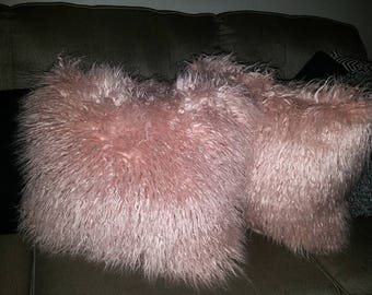 Pink Faux Fur Throw Pillow
