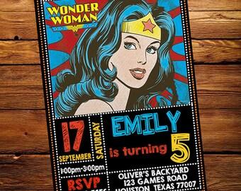 Wonder Woman Invitation - Wonder Woman Clipart Birthday Party Invite - Printable And Digital File