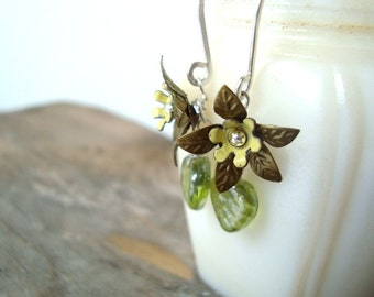 Flower Jewelry Woodland Blooms Earrings Brass Sterling Silver Shabby Chic Spring Fashion Gifts Under 40 Nature Inspired Flower Jewelry