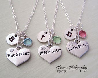 3 Sisters Necklaces - Big Sister, Middle Sister, Little Sister - Matching Necklaces - Personalized Jewelry - Triplet Gifts