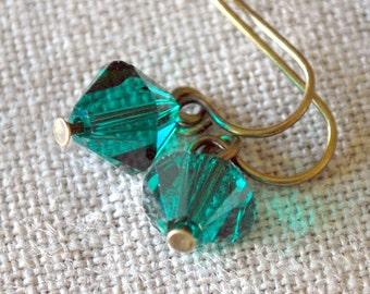 Emerald Green Diamond Swarovski Dangles