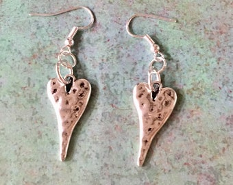 HEART Earrings Silver Pewter Hammered
