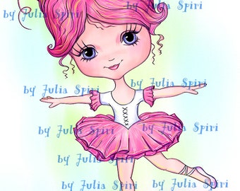 Digital Stamps, Digi Stamp, Scrapbooking printable, Ballet stamps, Coloring page, Doll stamps, Digi, Line art. Little Ballerina