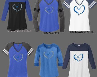 Air Force Heart-Customizeable Ladies Specialty Shirts -AF304