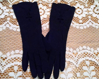 Pretty Vintage Gloves Ladies' Dark Blue Gloves Scalloped Design Mid-Arm Classy Gloves Navy Blue Gloves Cutouts Small Size Cottage Chic Decor