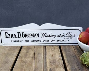 Vintage Bakery Sign, Birthday And Wedding Cake Advertising