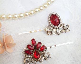 Red hair pins, Ruby red jewel hair pins, Ruby red wedding hair piece, ruby red bobby pins, Ruby red hair pins, Marie Antoinette, Sunstone